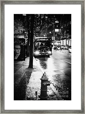 Vancouver City Bus At Stop On Wet Street In Early Evening In Downtown City Centre Bc Canada Framed Print