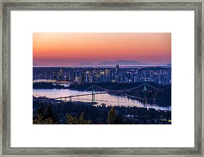 Vancouver City Sunrise Framed Print by Pierre Leclerc Photography