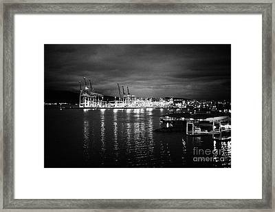 Vancouver Metro Port Container Terminal At Night Bc Canada Framed Print