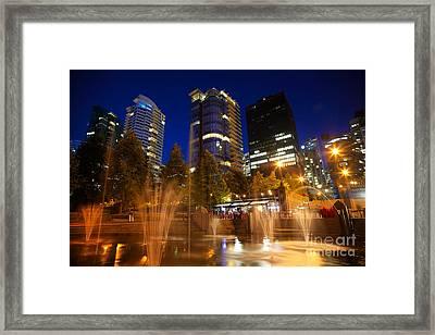 Vancouver Night Time Framed Print by Terry Elniski