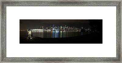 Vancouver Panorama At Night Framed Print by Jeremy Oberg