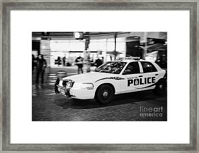 Vancouver Police Squad Patrol Car Vehicle Bc Canada Deliberate Motion Blur Framed Print by Joe Fox