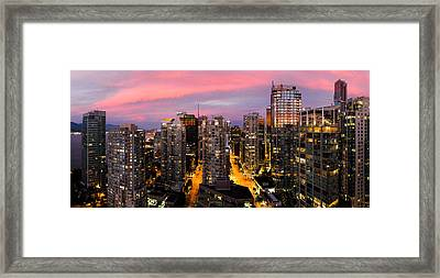 Vancouver Rooftop Sunset Framed Print