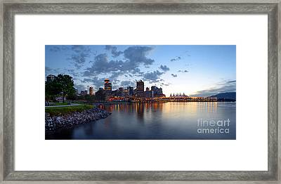 Vancouver Skyline From Crab Park At Portside Framed Print