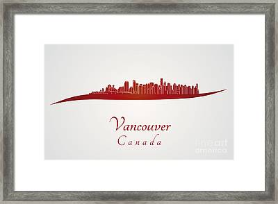 Vancouver Skyline In Red Framed Print by Pablo Romero