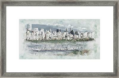 Vancouver Skyline Framed Print by Maryam Mughal