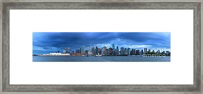 Vancouver Skyline Panoramic At Night Framed Print