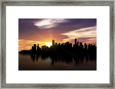 Vancouver Sunset Skyline  Framed Print by Aged Pixel