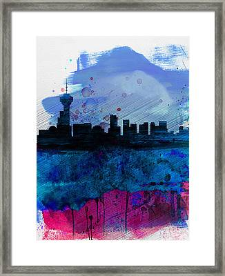 Vancouver Watercolor Skyline Framed Print by Naxart Studio