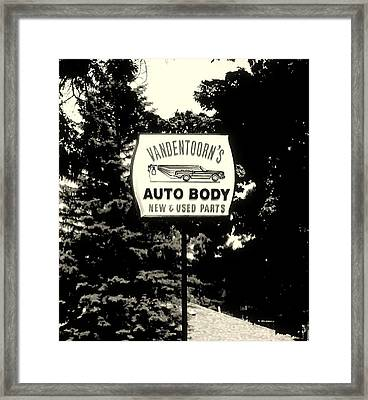 Vandentoorns Auto Body New And Used Parts Sign Framed Print by Rosemarie E Seppala