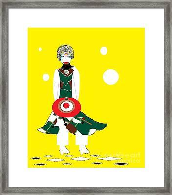 Framed Print featuring the digital art Vanguard Girl by Ann Calvo