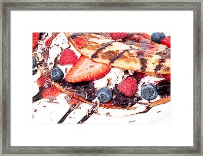 Vanilla Ice Cream With Fresh Berries Framed Print by Handmade Pictures