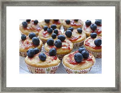 Vanilla Cupcakes With Fresh Blueberries Framed Print by Maria Janicki