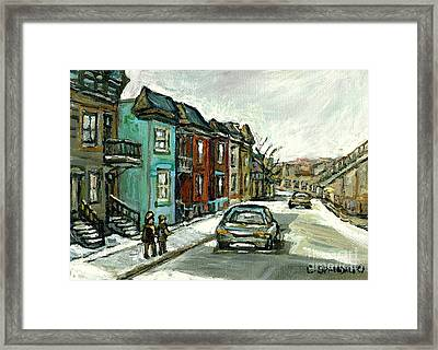 Vanishing Montreal Historical Paintings May Street Verdun Champlain Bridge Celebrate Montreal 375  Framed Print by Carole Spandau