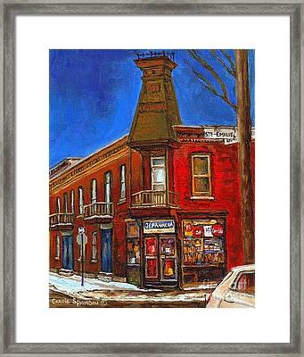 Vanishing Montreal Landmark Depanneur Ste. Emilie And Bourget Montreal Painting By Carole Spandau  Framed Print by Carole Spandau