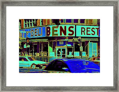 Vanishing Montreal Memories Ben's Historical Restaurant Window So Many Stories To Tell Framed Print by Carole Spandau