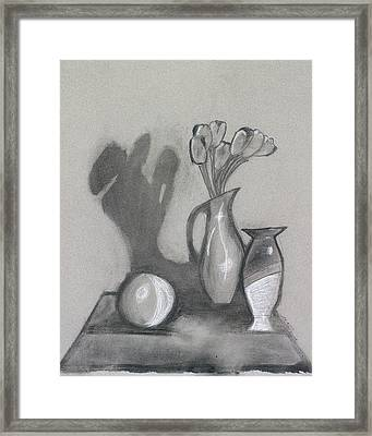 Framed Print featuring the mixed media Vanishing Vase by Artists With Autism Inc