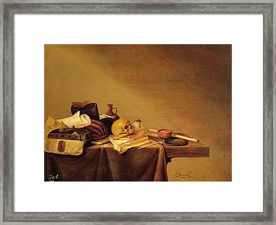 Vanitas Or, Emblem Of Death Oil On Canvas Framed Print by Pieter van Steenwyck