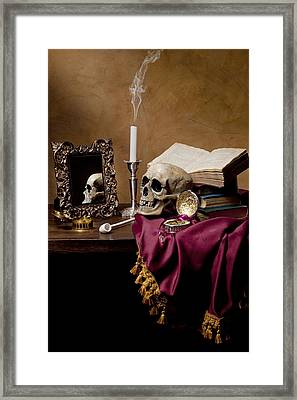 Vanitas - Skull-mirror-books And Candlestick Framed Print by Levin Rodriguez