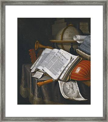 Vanitas Still Life With An Upturned Lute Framed Print by Celestial Images