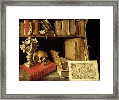 Vanitas With A Sundial, C.1626-40 Oil On Canvas Framed Print