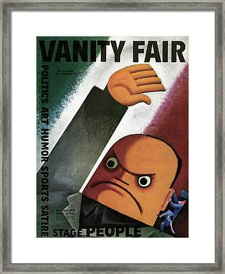Vanity Fair Cover Featuring  A Caricature Framed Print