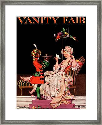 Vanity Fair Cover Featuring A Lady On A Chaise Framed Print by Frank X. Leyendecker
