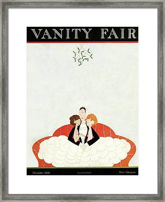 Vanity Fair Cover Featuring A Man With A Girl Framed Print by A. H. Fish
