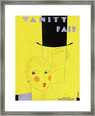 Vanity Fair Cover Featuring A Man With A Monocle Framed Print by Eduardo Garcia Benito