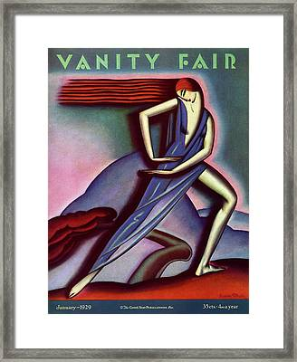 Vanity Fair Cover Featuring A Woman Dancing Framed Print by Symeon Shimin