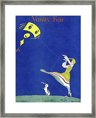 Vanity Fair Cover Featuring A Woman Flying A Kite Framed Print by Ethel Plummer