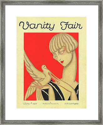 Vanity Fair Cover Featuring A Woman Holding Framed Print by Jacques Darcy