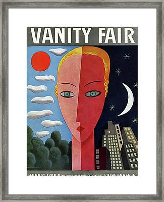 Vanity Fair Cover Featuring A Woman's Face Split Framed Print by Miguel Covarrubias