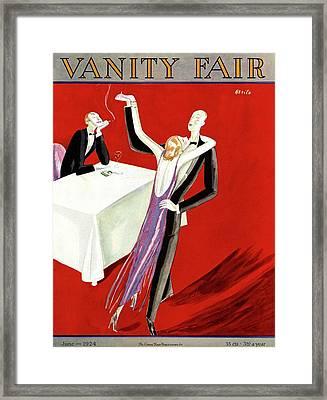 Vanity Fair Cover Featuring An Elegant Couple Framed Print by Eduardo Garcia Benito