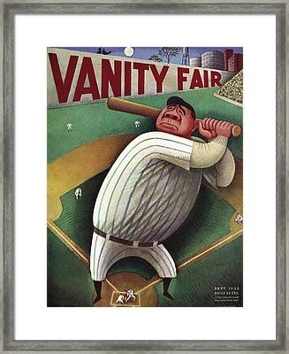 Vanity Fair Cover Featuring Babe Ruth Framed Print by Miguel Covarrubias