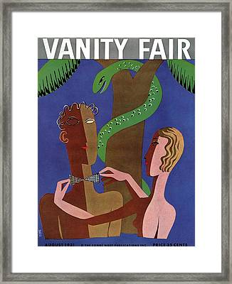 Vanity Fair Cover Featuring Eve Tying A Bowtie Framed Print by Eduardo Garcia Benito