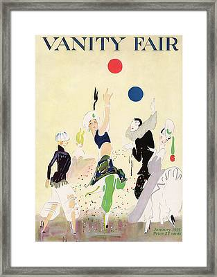 Vanity Fair Cover Featuring Five Costumed Figures Framed Print by Ethel Plummer