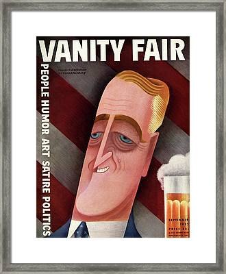 Vanity Fair Cover Featuring Franklin D. Roosevelt Framed Print by Miguel Covarrubias
