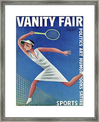 Vanity Fair Cover Featuring Helen Wills Playing Framed Print by Miguel Covarrubias