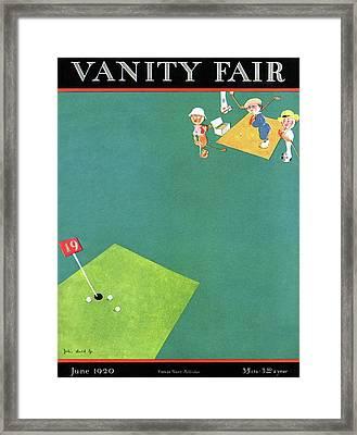 Vanity Fair Cover Featuring Men Playing Golf Framed Print by John Held Jr
