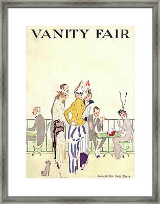 Vanity Fair Cover Featuring People At An Outdoor Framed Print by Ethel Plummer