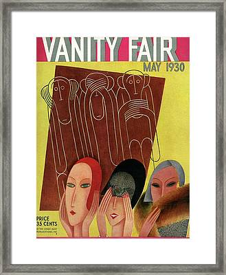 Vanity Fair Cover Featuring Three Monkeys Framed Print by Miguel Covarrubias