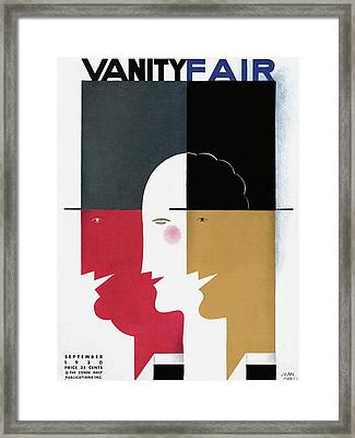 Vanity Fair Cover Featuring Three Profiles Framed Print by Jean Carlu