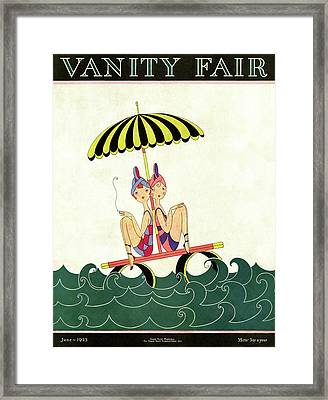 Vanity Fair Cover Featuring Two Bathing Beauties Framed Print
