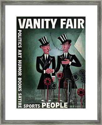 Vanity Fair Cover Featuring Two James Walkers Framed Print by Miguel Covarrubias