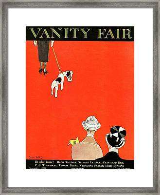 Vanity Fair Cover Of Dog Walking Framed Print by John Held Jr