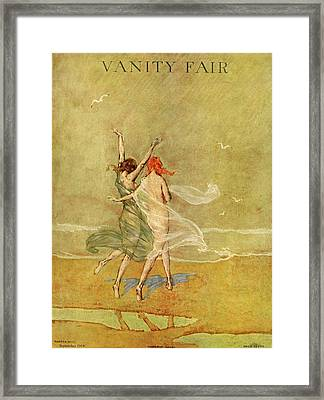 Vanity Fair Cover Featuring Two Nymphs Framed Print by Warren Davis
