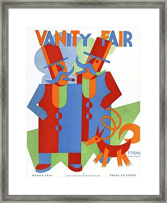 Vanity Fair Cover Featuring Two Wealthy Men Framed Print by Fortunato Depero