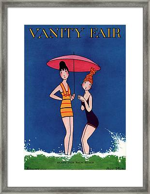 Vanity Fair Cover Featuring Two Women Standing Framed Print by A. H. Fish