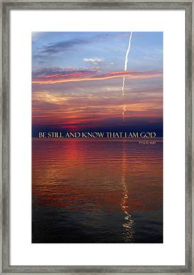 Vapor Trail Sunset - Psalm 46 Framed Print by David T Wilkinson